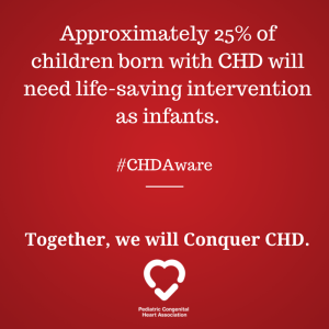 Approximately 25% of children born with CHD will need life-saving intervention as infants.