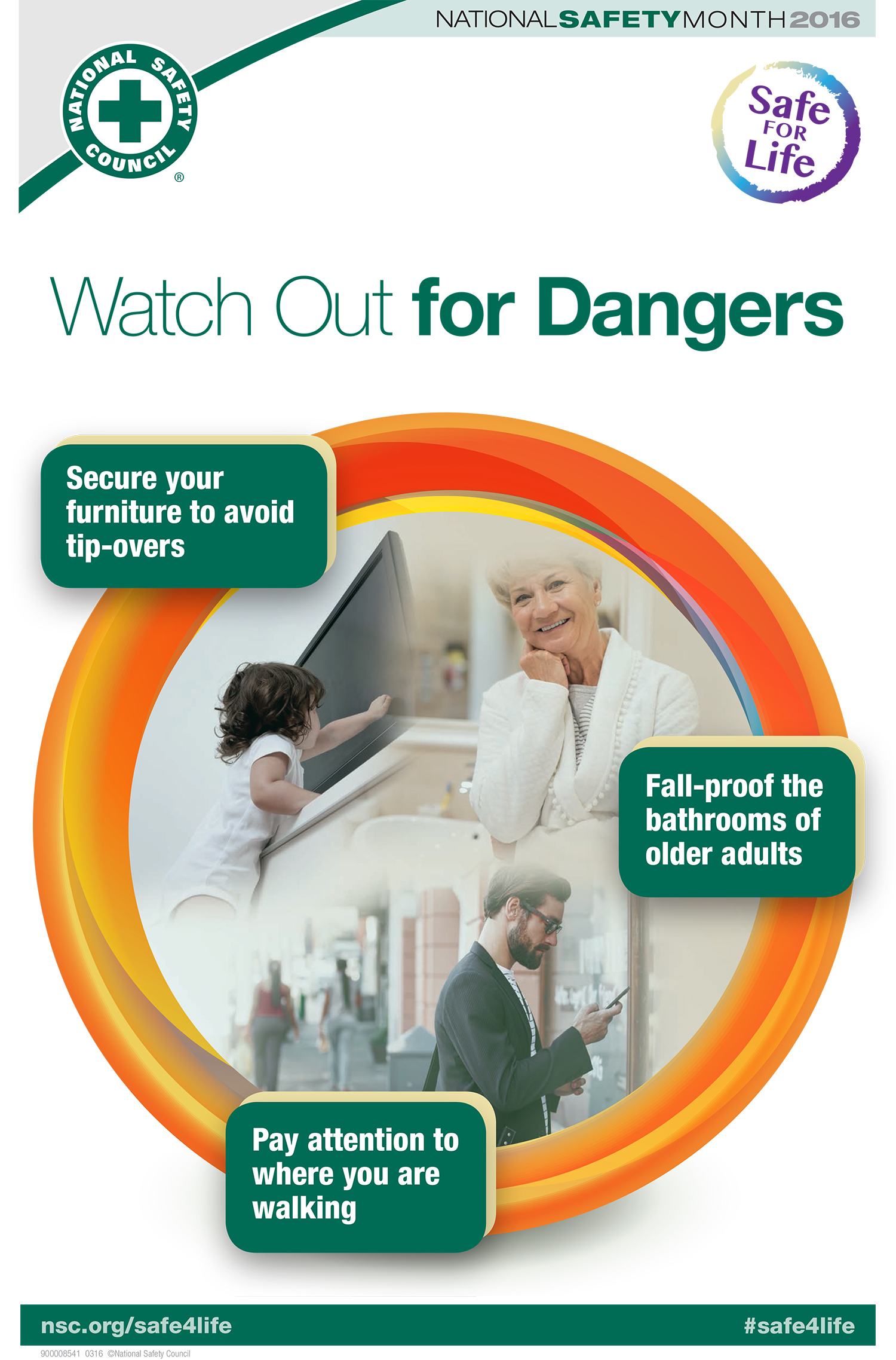 Watch Out for Dangers  Secure your furniture to avoid tip-overs Fall-proof the bathrooms of older adults Pay attention to where you are walking