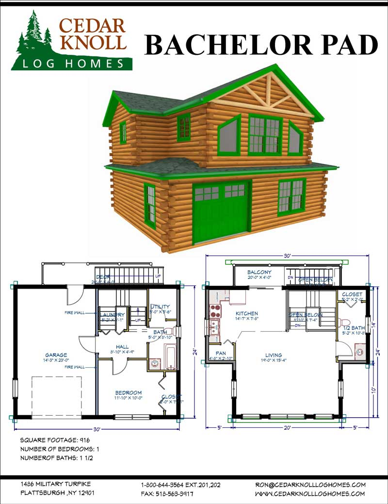 The Bachelor Pad Log Home and Garage Kit