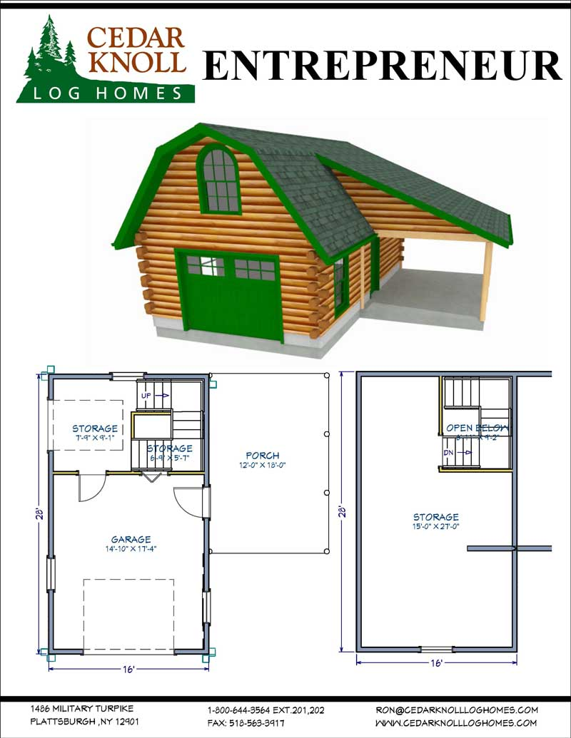 Entrepreneur Log Home Kit with Garage