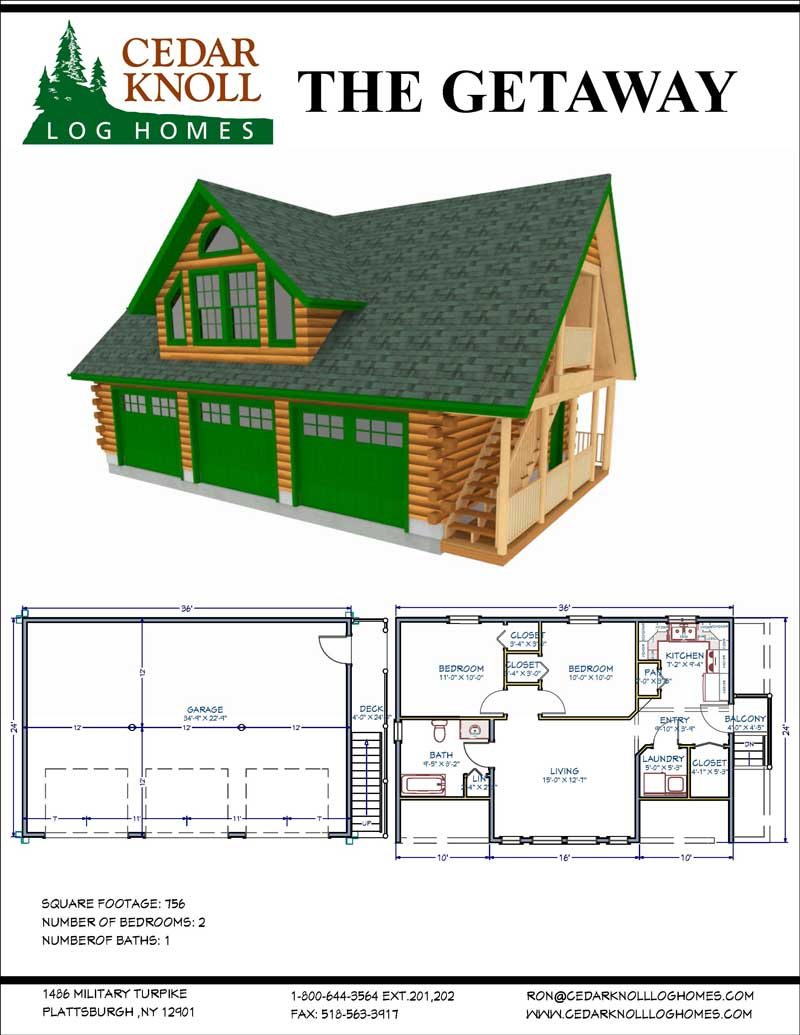 The Getaway Log Garage Kit and Suite