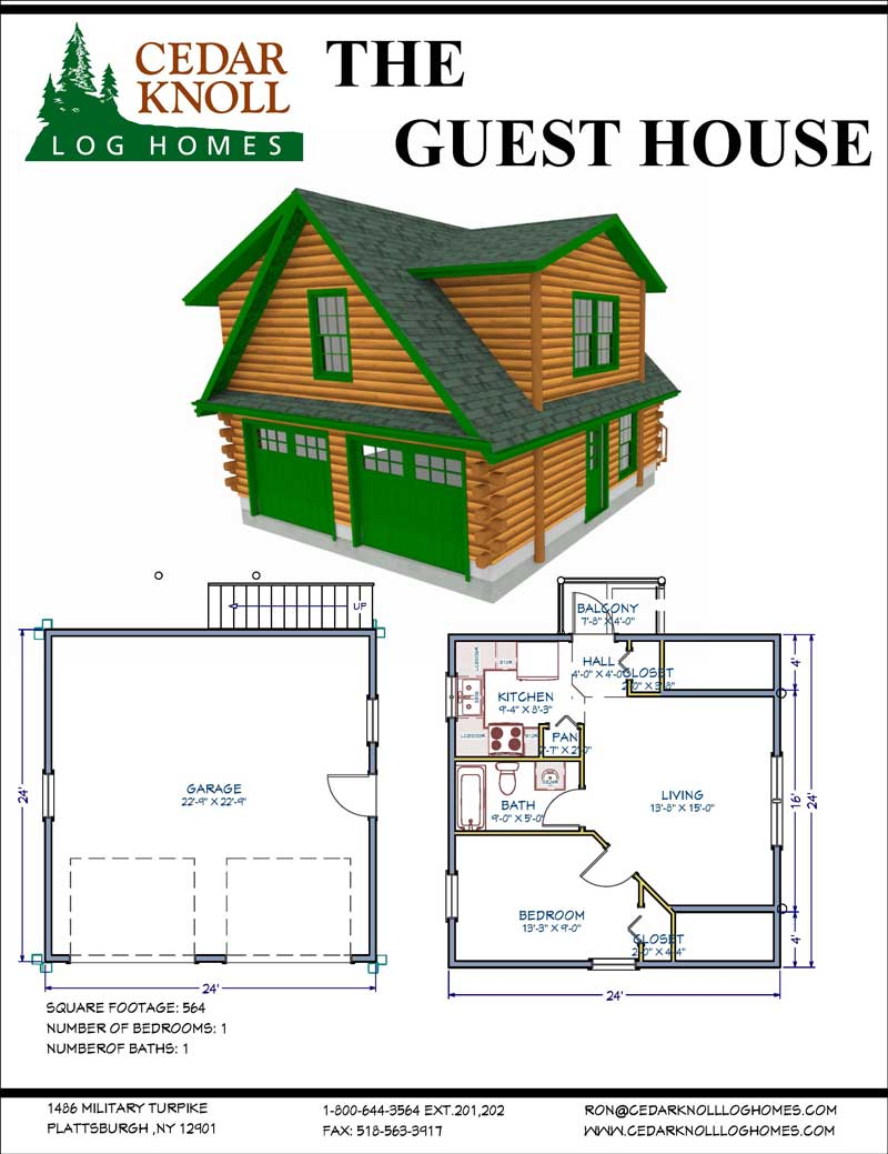 The Guest House Log Home kit with Garage