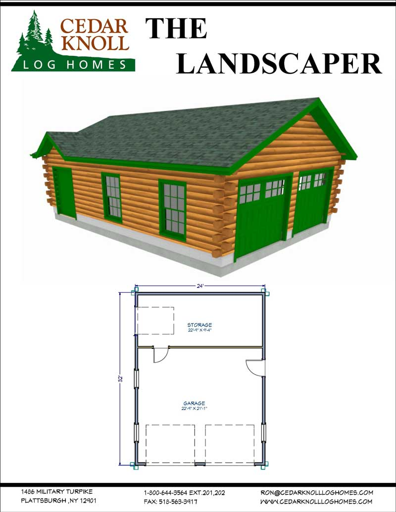 The Landscaper Log Home and Garage Kit