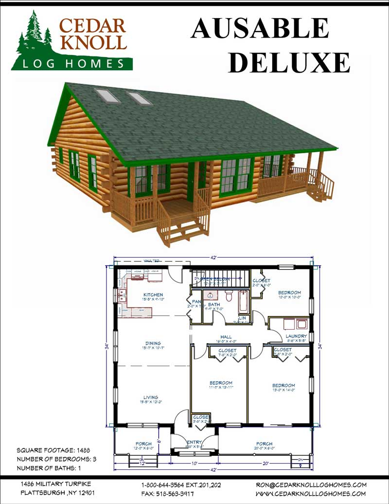 Ausable Deluxe log home kit