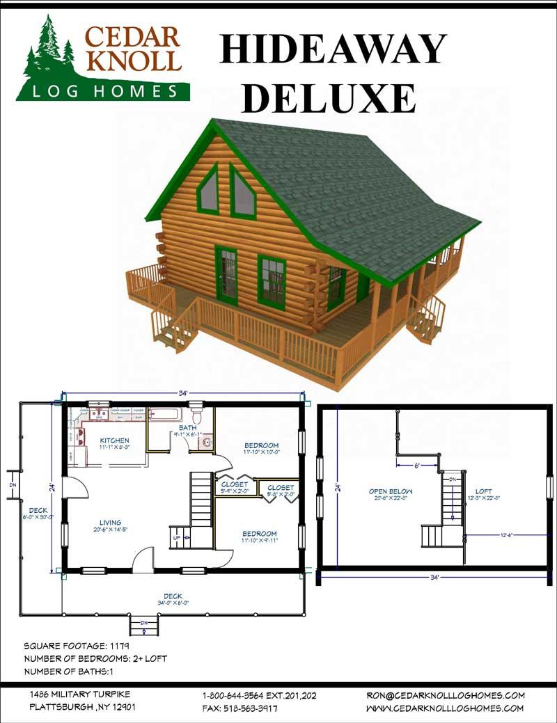 Hideaway Deluxe Log Home kit
