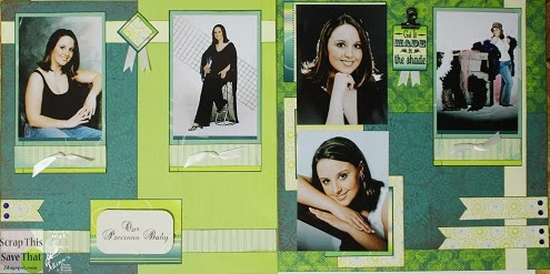 Green Yellow and Blue Double Page Scrapbook Layout 1