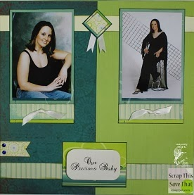 Green Yellow and Blue Double Page Scrapbook Layout 2