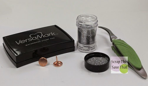 Embossing Powder, VersaMark Ink, Tweezers, Brads