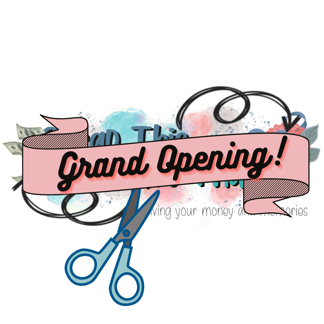 Peach colored, black text Grand opening banner with scissors about to cute it, hiding a new logo for Scrap This Save That blog