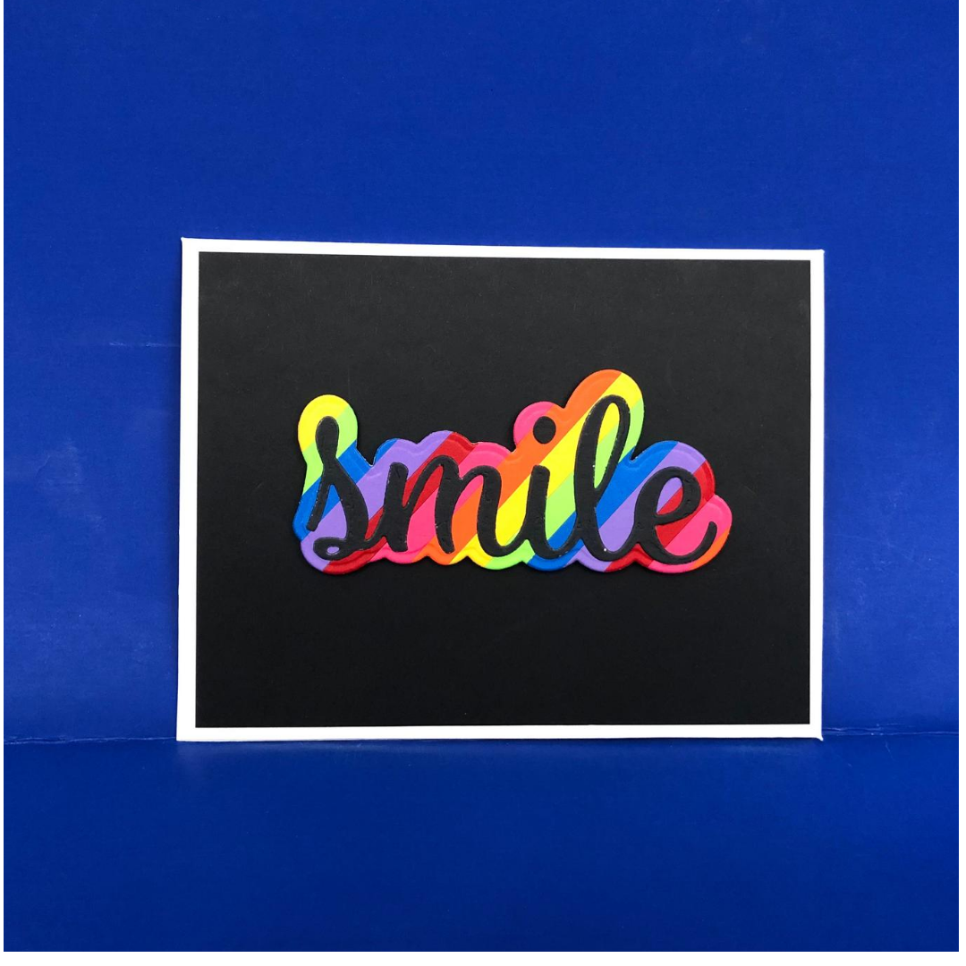 Black and rainbow smile card