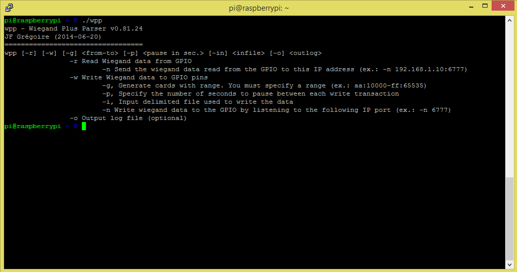 The command line help of the wex software