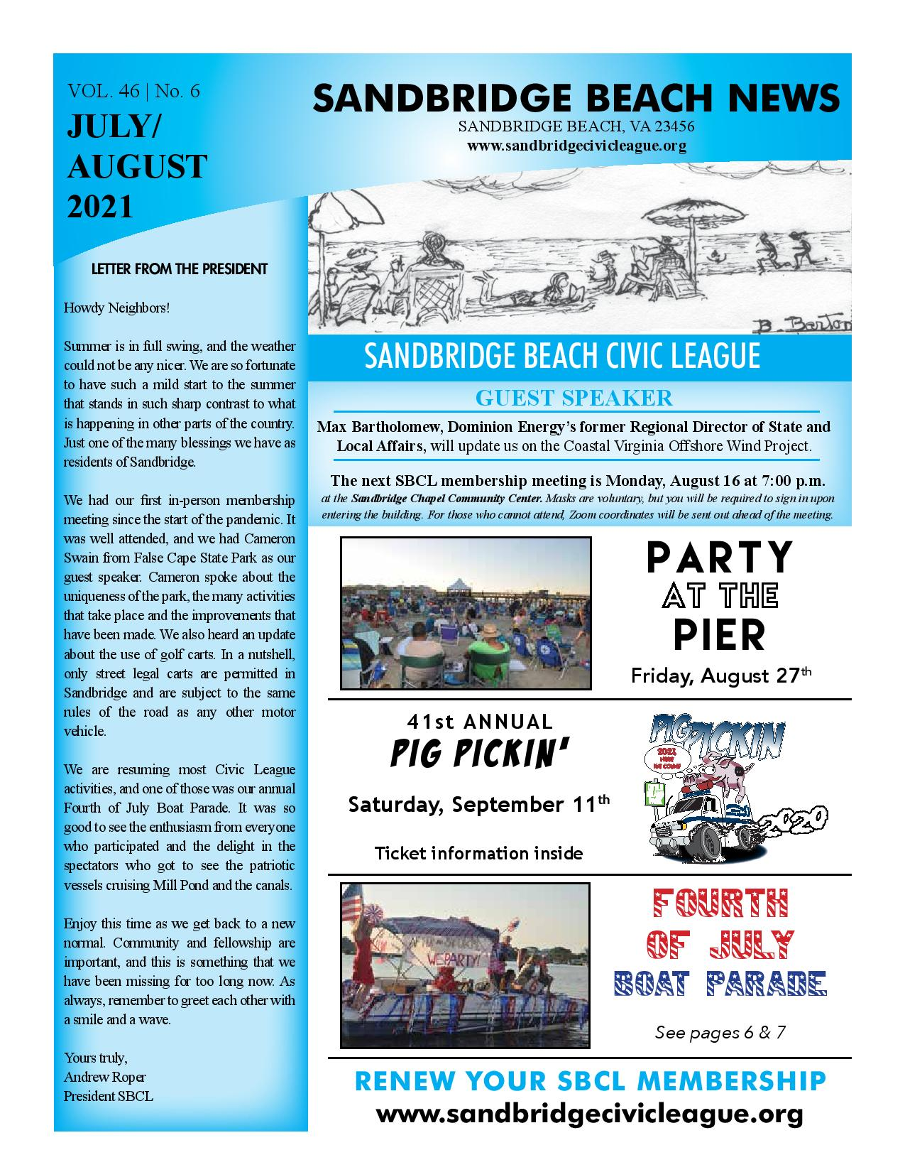 SBCL Newsletter July/August 2021