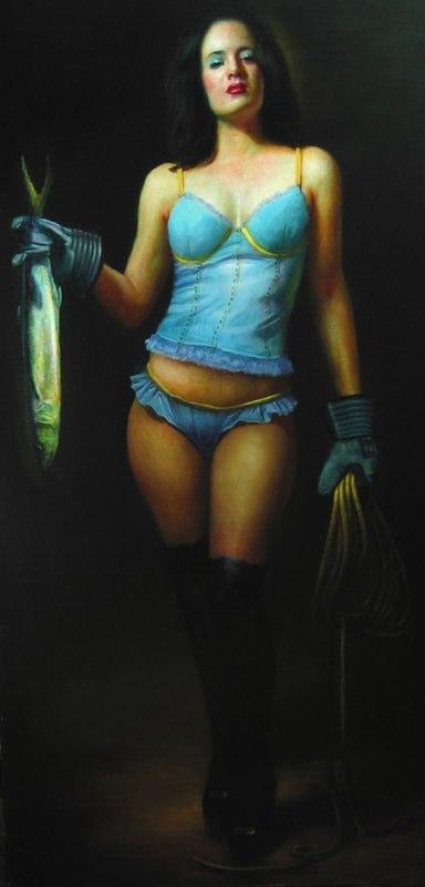 """Woman Caught Fishing,"" 78"" x 40"", oil on linen, 2007"