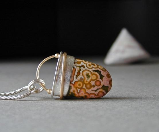 Betsy Bensen Ocean Jasper, Sterling Silver, 18kt Gold, Jasper Pendant, Handmade Jewelry, Unique