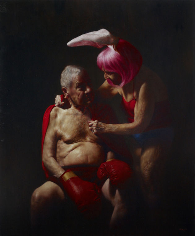 """""""The Boxer,"""" Jason Bard Yarmosky, oil on linen 72""""x60"""" private collection"""
