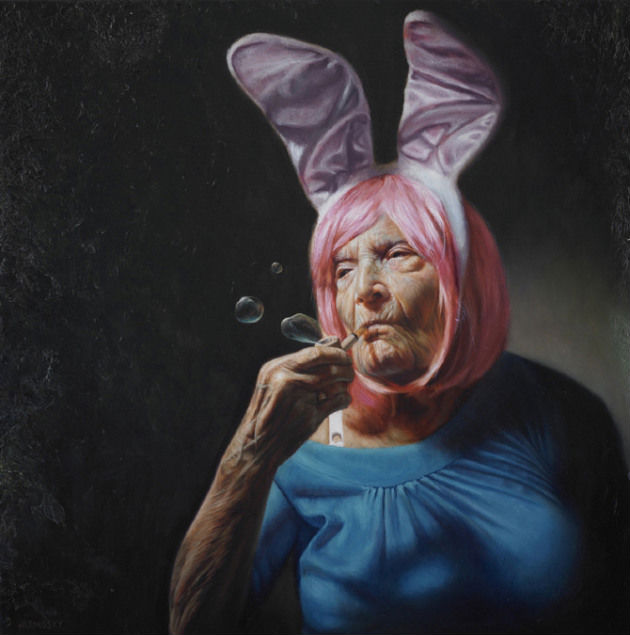 """""""Haughty Elaine,"""" Jason Bard Yarmosky, oil on linen 24""""x24"""" private collection, New York"""