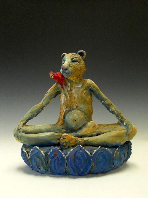 "Lion Buddha by Susannah Israel 16"" x 12"" Ceramic"