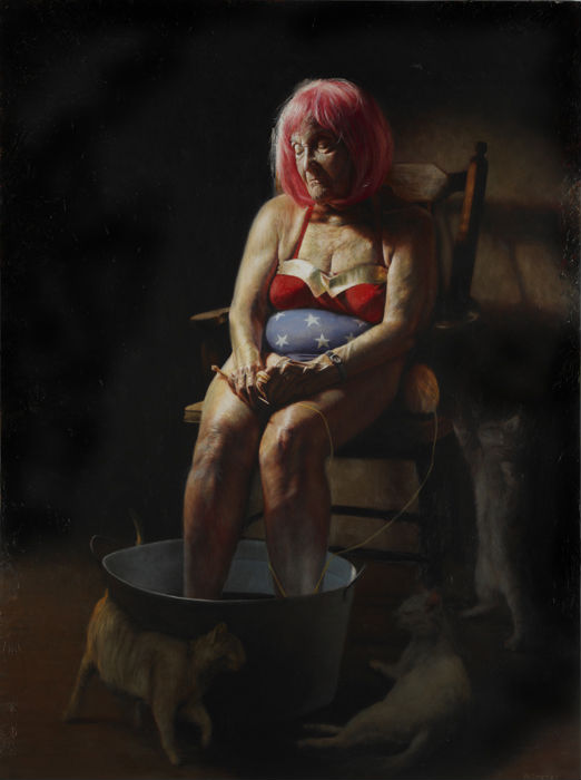 """""""Wondering Woman,"""" Jason Bard Yarmosky, oil on linen 48″x36″ private collection"""