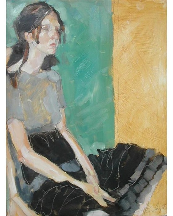 Olivia Pendergast (Caucasian young woman seated)
