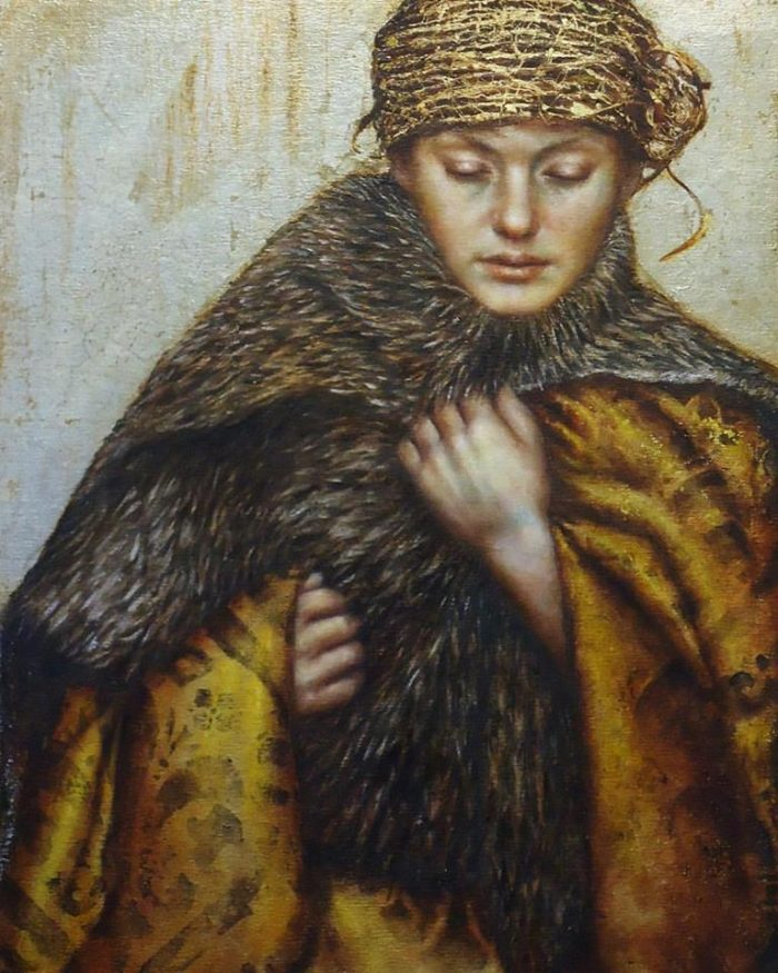 Winter | Oil beeswax and metal leaf on board | Pam Hawkes