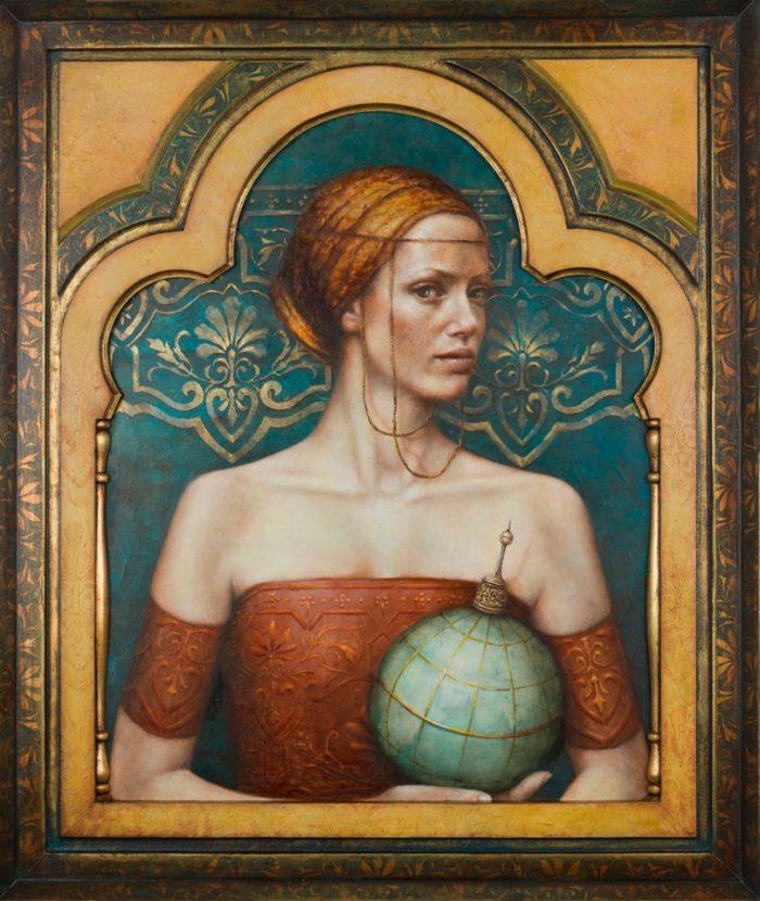Terra Incognita | oil an dutch metal on board | 36 x 30 in | Pam Hawkes