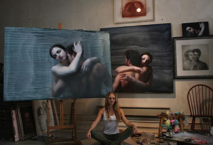 Maria KreynMaria Kreyn in her studio with her new work Embrace 1 and Embrace 2..jpg