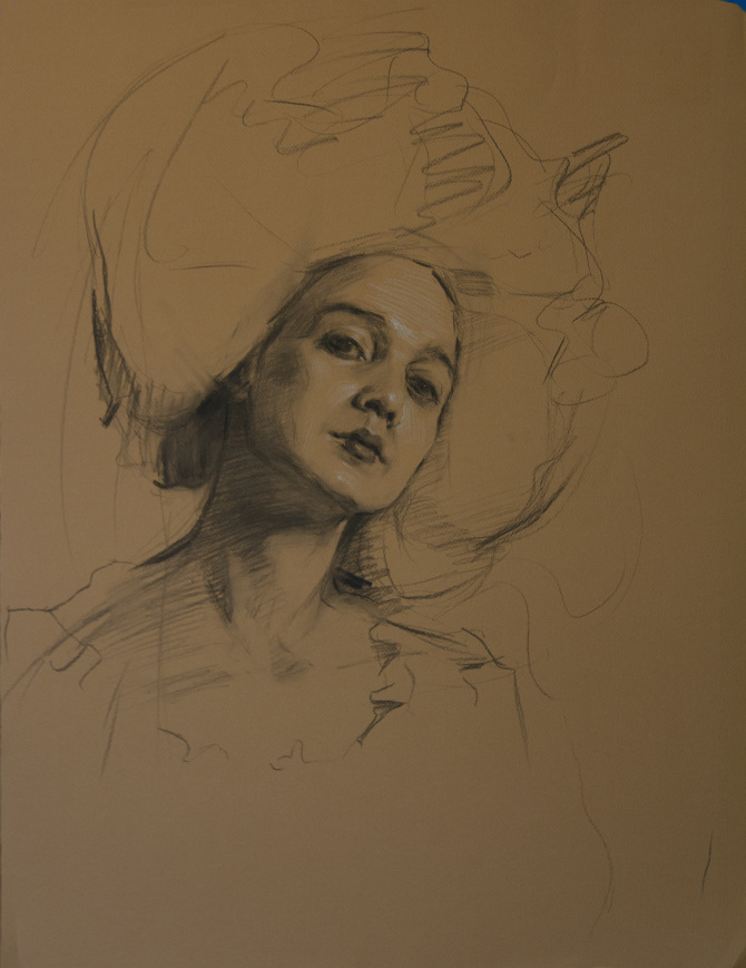 Portrait on Buff Paper | 18x26 | charcoal with white chalk on Canson paper | 2014