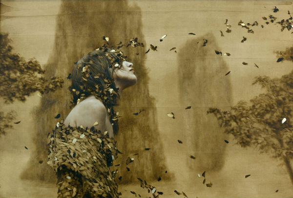 Seer Oil and gold leaf on wood. 17 x 28 inches