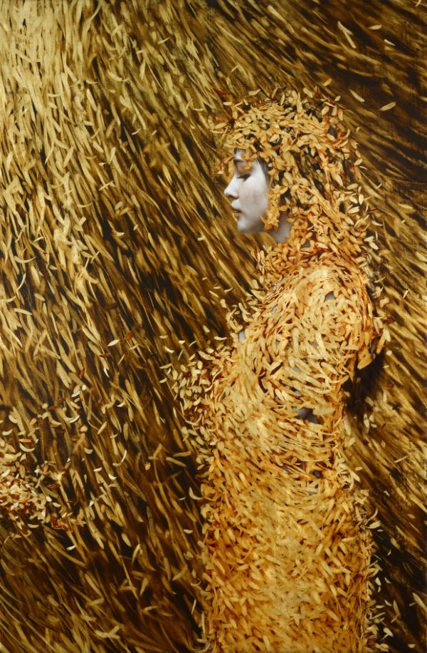Cocoon Oil and gold leaf on linen.