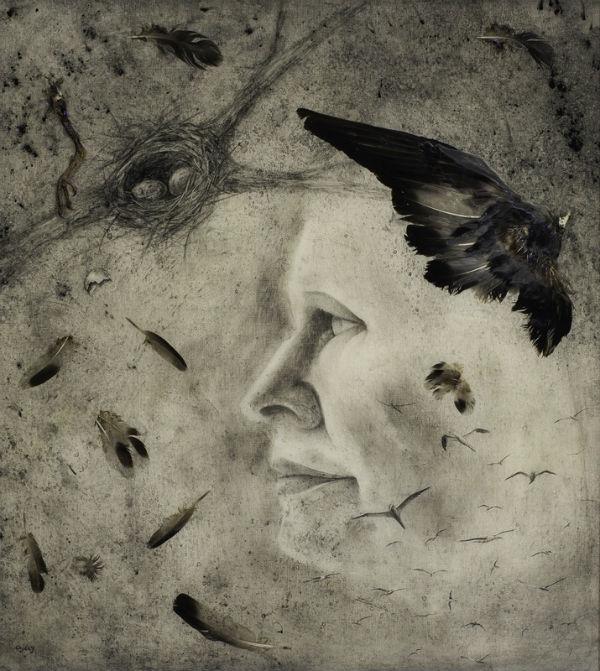 The Balance Between Hope and Depair | charcoal, found bird & epoxy | Ajay Brainard 26_ x 24_ 600