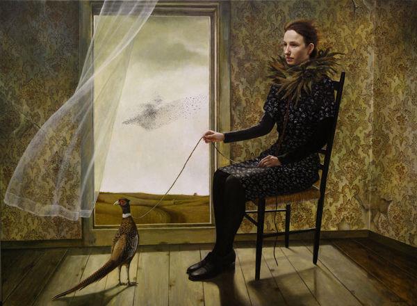 Pheasant Keeper   36x48   acrylic-on-canvas   Andrea Kowch