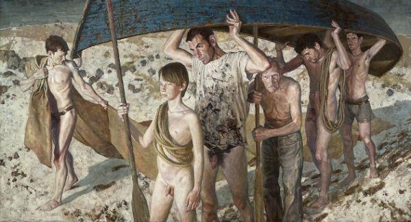 <em>Embarcation II</em> | acrylic on canvas | x cm, 48 x 108 inches 122 x 275 cm | Daniel Barkely | 2003