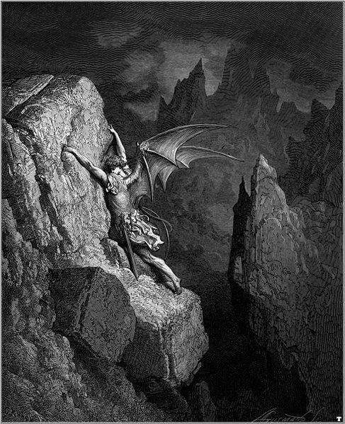 """The fall of Lucifer: Illustration for John Milton's """"Paradise Lost"""" by Gustave Doré, 1866."""
