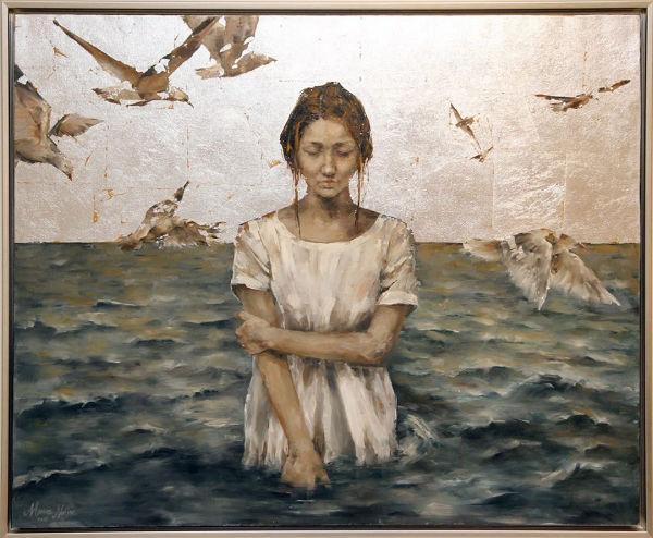 Calm | oil and silver leaf on canvas |95x115 | Marwa Alnajjar