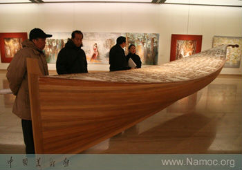 The Opera, hand-carved wooden boat sculpture by Vangelis Rinas