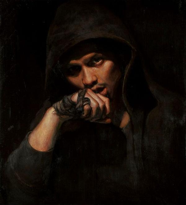 "Ares | 22"" x 20"" | Luke Hillestad | Model: The artist's friend, Erali Garcia"