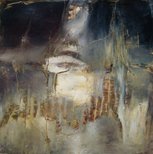 """Slipping Into Tuesday mixed media on panel 36"""" H x 36"""" W"""