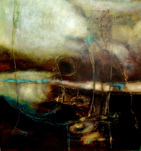 """Burnt mixed media on board with black frame 24"""" H x 24"""" W"""