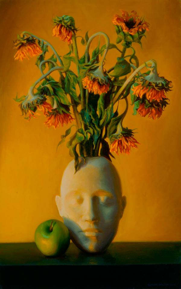 Dying Sunflowers, Oil on linen, 24x15, 2003