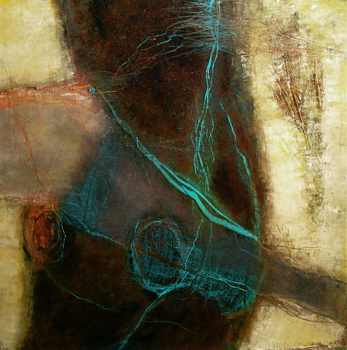 "She Lied mixed media on board with black gallery frame 24"" H x 24"" W"