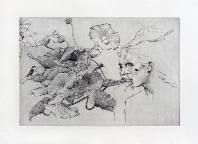 Les Mangeurs de Lotus Drypoint print, edition of 7, 20x30cm, 2011 Helene