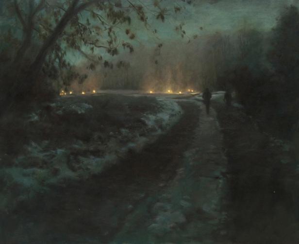 Route de nuit, hiver oil on canvas, 81x100cm, 2011 Helene