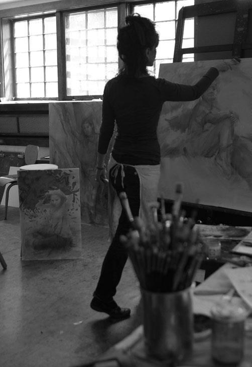 Stanka working in her studio