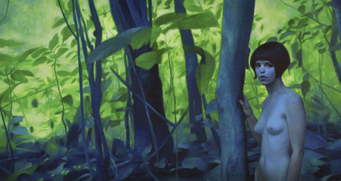 700 Into the Wood 2013 oil on canvas over panel 7 x 5 inches Keita Morimoto 1000 not 700