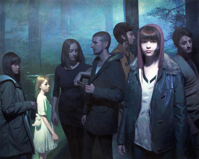 Nightwatchers 2014 oil on canvas 96 x 120 inches Keita Morimota