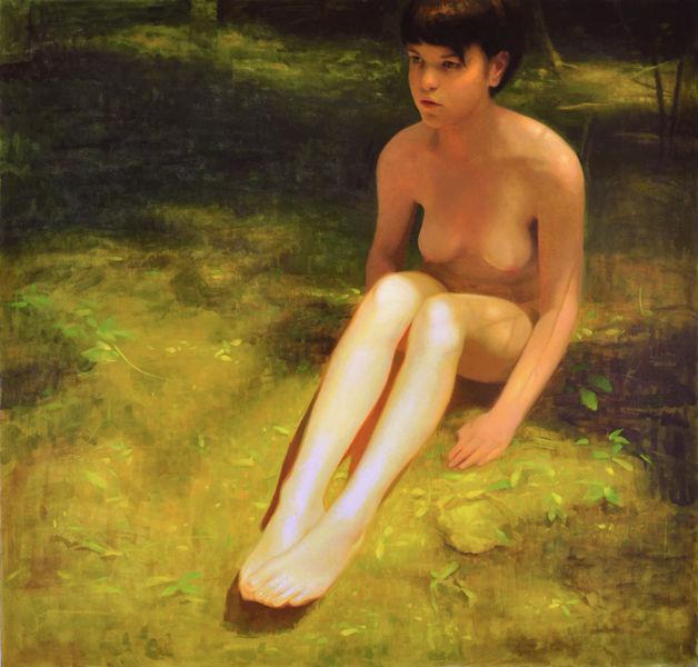 On the Grass   2013   oil on canvas over panel   48 x 50 inches   Keita Morimoto