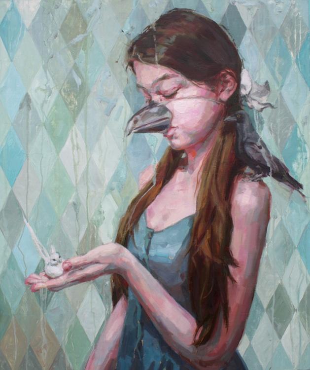 "Birds   oil on wood   36"" x 30""   SOLD   Jennifer Balkan"