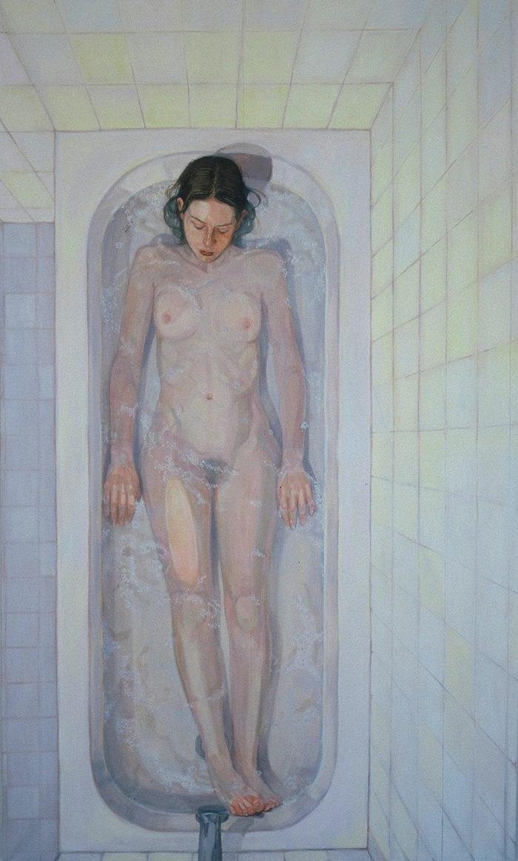 Floating, Self Portrait | 60 x 40 | Oil on Linen | Christina Sealey