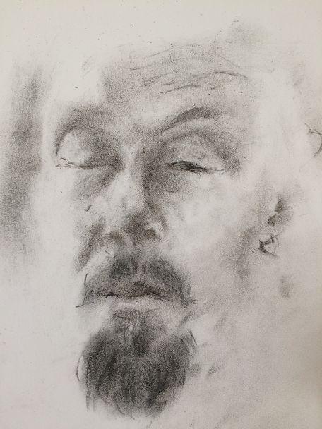 Self-portrait in charcoal | Jaakko Savolainen, Finland