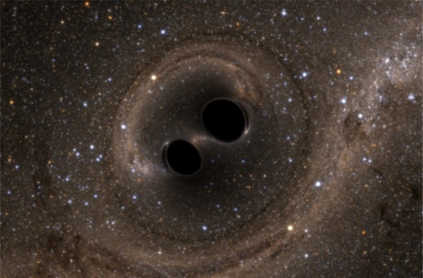 Artist rendition of merging black holes